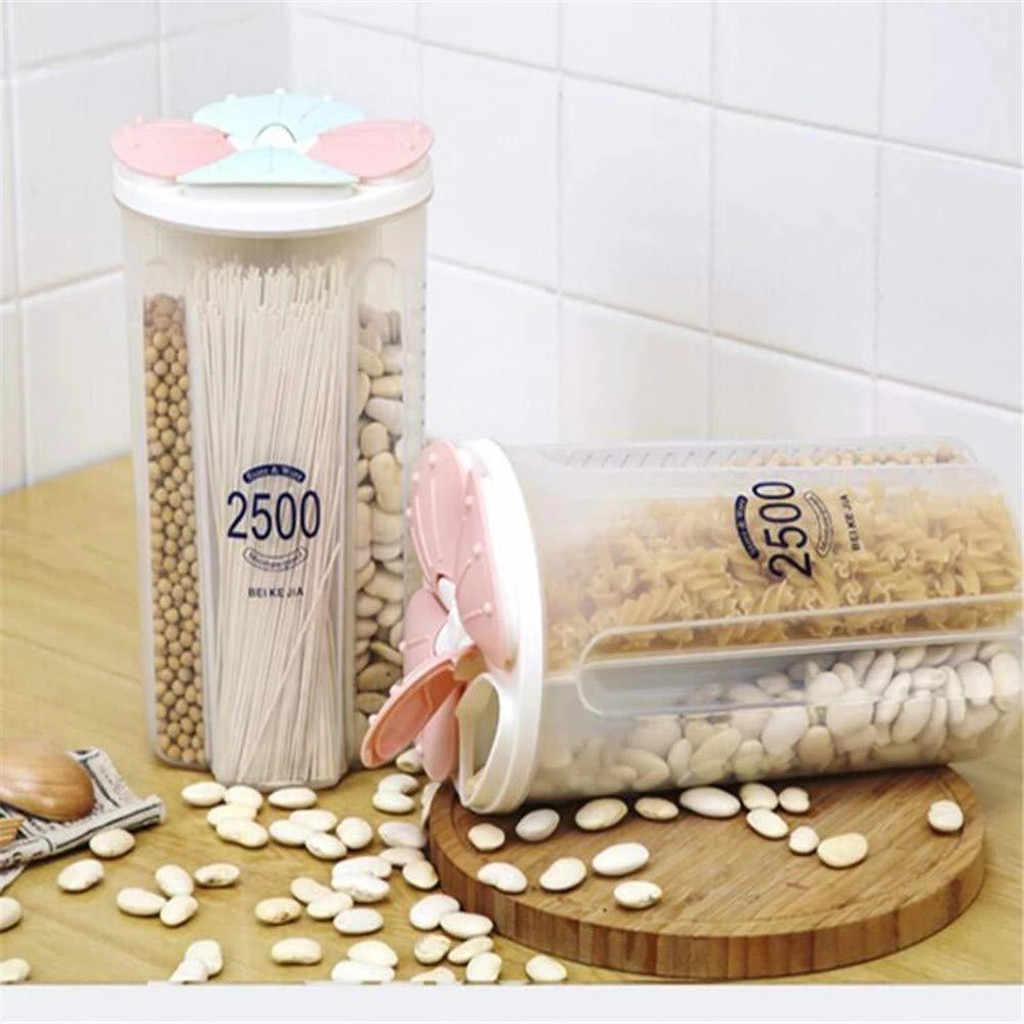 البلاستيك آلة توزيع حبوب صندوق تخزين المطبخ الغذاء أرز حبوب الحاويات نيس المطبخ صندوق تخزين الأرز الدقيق تخزين الحبوب #5 دولار