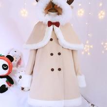 Зимнее милое пальто в стиле Лолиты, бархатное утепленное приталенное пальто kawaii+ плащ в стиле лося, пальто в стиле готической Лолиты для девочек