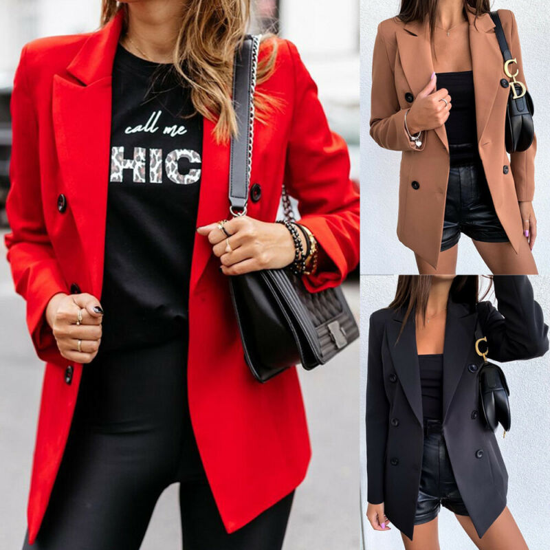 Hot Sale Women Casual Double Breasted Blazers 2020 Autumn Spring Long Sleeve Coat Fashion Lapel Slim Fit Outdoor Blazer 3 Color