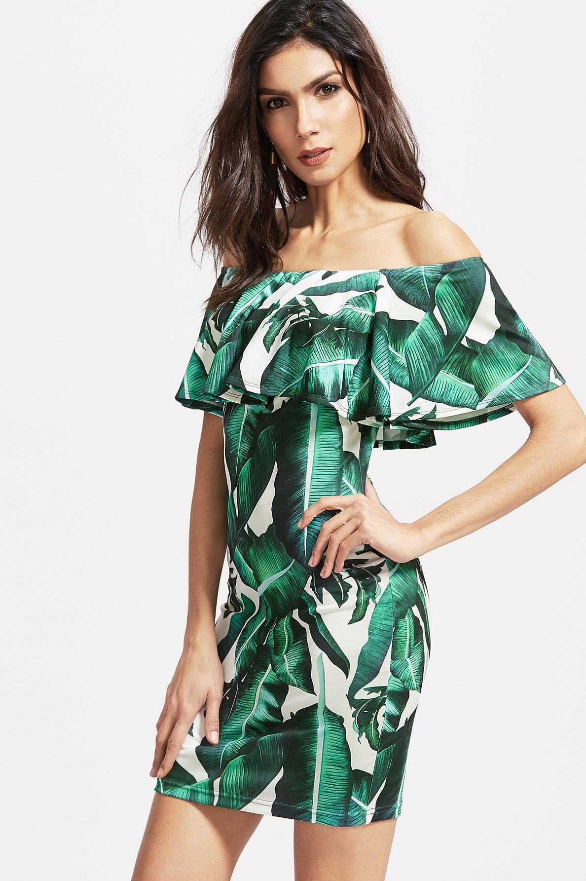 EBay <font><b>AliExpress</b></font> 2018 Europe And America New Style Wrap-around Flounced Japanese Banana Leaf Printed Slim Fit Bale Arm <font><b>Dress</b></font> image