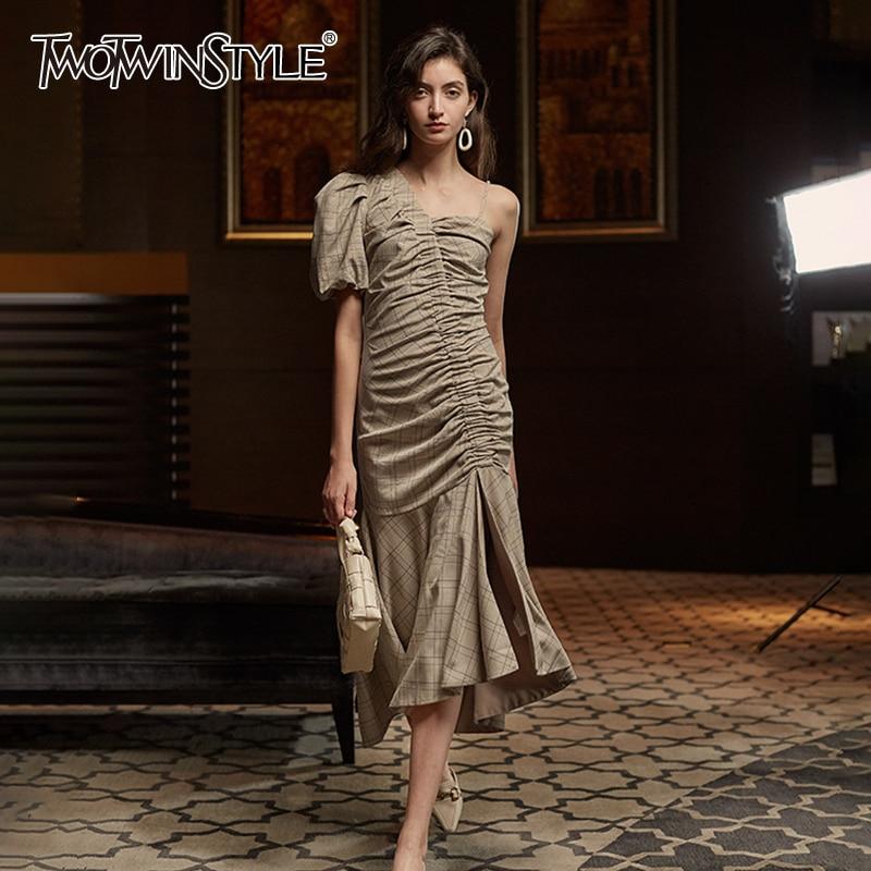 TWOTWINSTYLE Asymmetrical Patchwork Plaid Ruched Dress For Women Puff Sleeve Irregular Hem Elegant Dresses Female 2020 Summer