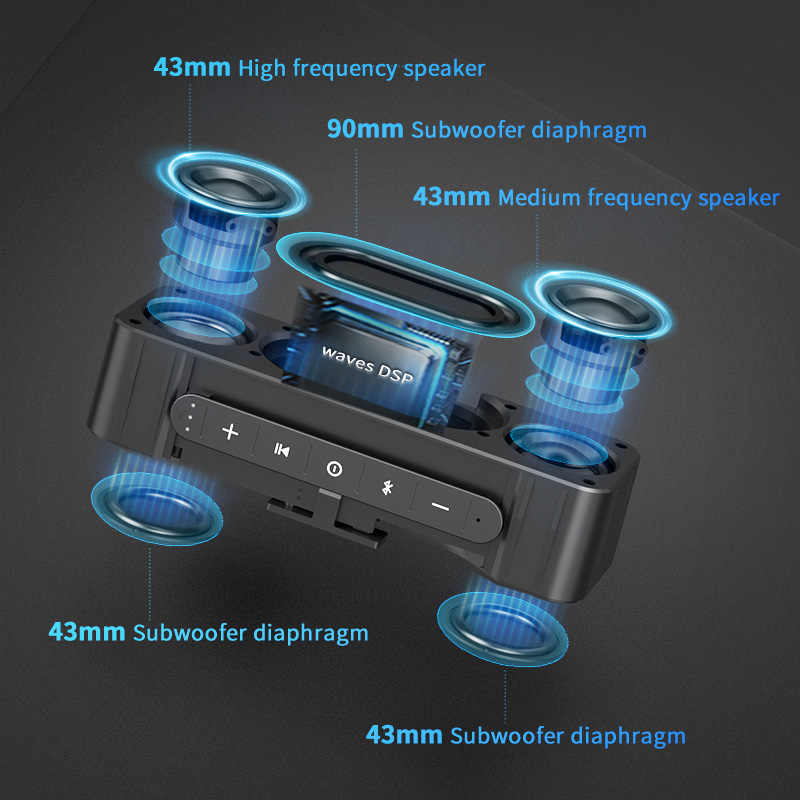 MIFA A20 سمّاعات بلوتوث معدن قابل للنقل سوبر باس مكبر الصوت اللاسلكي Bluetooth4.2 ثلاثية الأبعاد صوت رقمي مكبر صوت حر اليدين MIC TWS