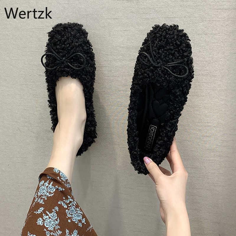 Kış kadın daireler artı bağcıksız ayakkabı kadın mokasen sahte kuzu kürk bot ayakkabı yay sıcak bayanlar bale daireler zapatos mujer A832