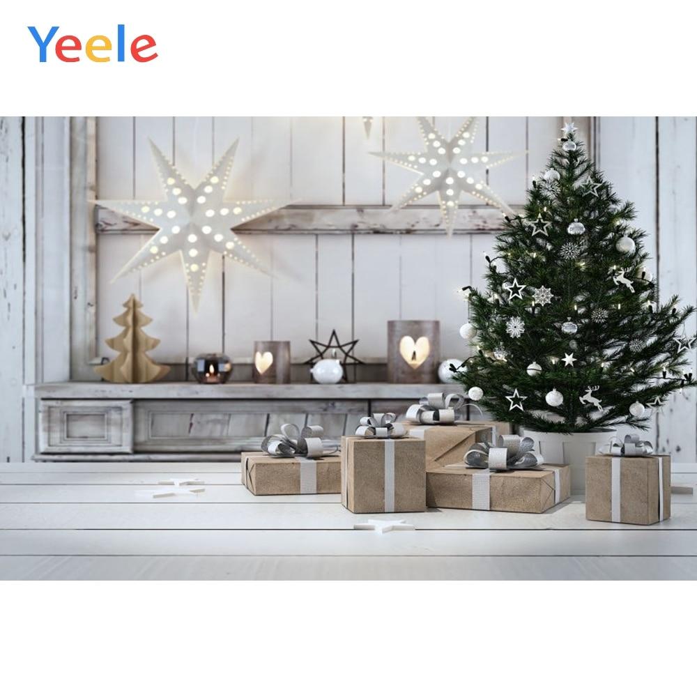 Yeele Christmas Backdrop Star Tree Gift Wood Board Photography Background For Photo Studio Baby Portrait Photobooth Vinyl Shoot