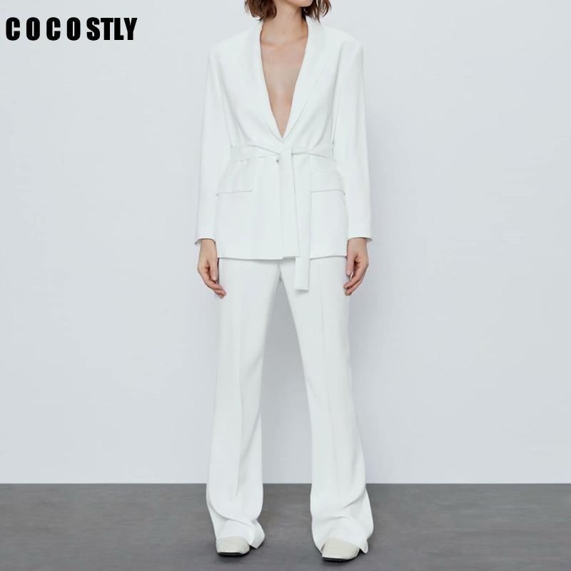 New 2 Piece Set Women Women Pant Suits Notched Collar Blazer Jacket & Pant White Female Office Lady Suits Tailleur Femme