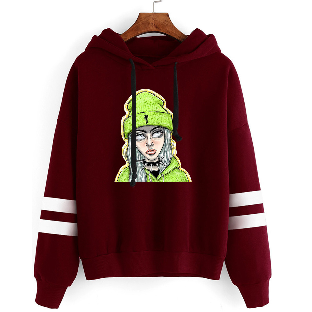 New Printed Billie Eilish Non Bag Bar Long Sleeve Hoodies Women Men Sweatshirts Hot Autumn Hoodie Boys Girls Dark Red Pullovers