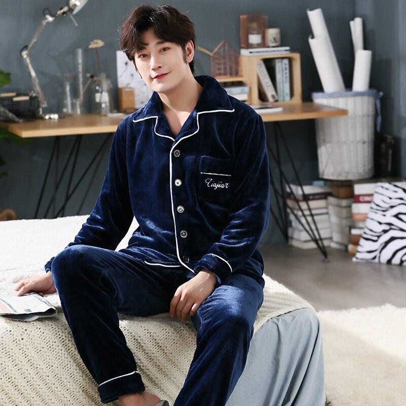New 3XL 4XL 5XL Sleepwear Long Sleeve Winter Warm Flannel Pajamas Sets Long Pant Male Pyjama Set Coral Fleece Leisure Outwear