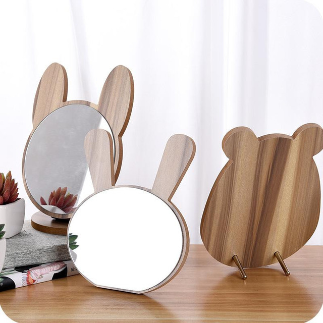 Cute Round Mirror Wooden Stand Makeup Mirror Dressing Decorative Mirrors Home Decor Bathroom Supplies Table Mirror Folding 1