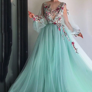 Image 1 - LORIE Long Sleeves Evening Dress Party Gowns Robe De Soiree Formal Prom Dresses Plunging 3D Flowers Beading Top Evening Gowns