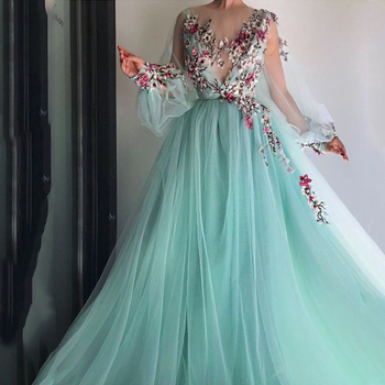 LORIE Long Sleeves Evening Dress Party Gowns Robe De Soiree Formal Prom Dresses Plunging 3D Flowers Beading Top Evening Gowns suosikki evening dress long v neck floral formal dresses backless formal prom occasion dresses satin robe de soiree party gowns