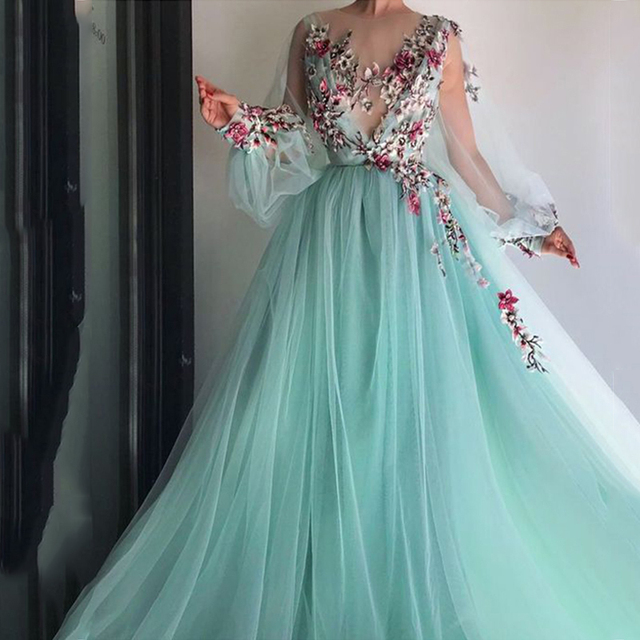 LORIE 긴 소매 이브닝 드레스 파티 가운 가운 드 Soiree 공식 댄스 파티 드레스 3D 꽃 구슬 탑 이브닝 가운