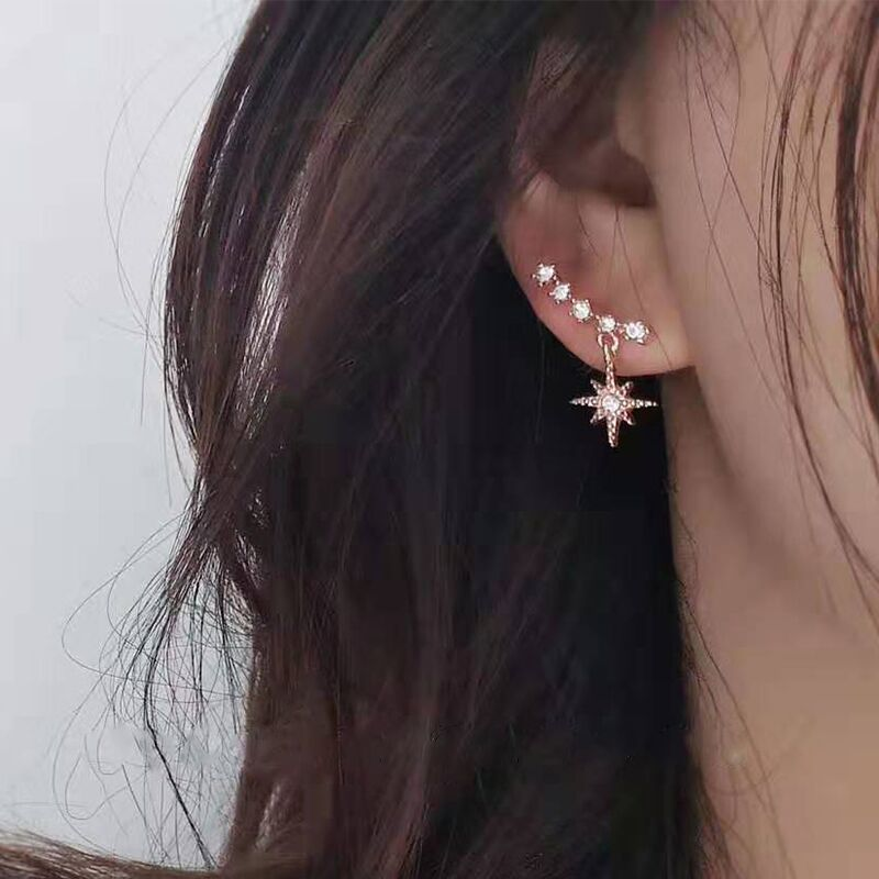 New 2019 Contracted Delicate Crystal Star Temperament Drop Earrings Women Korean Classic Style Small Earrings Fashion Jewelry