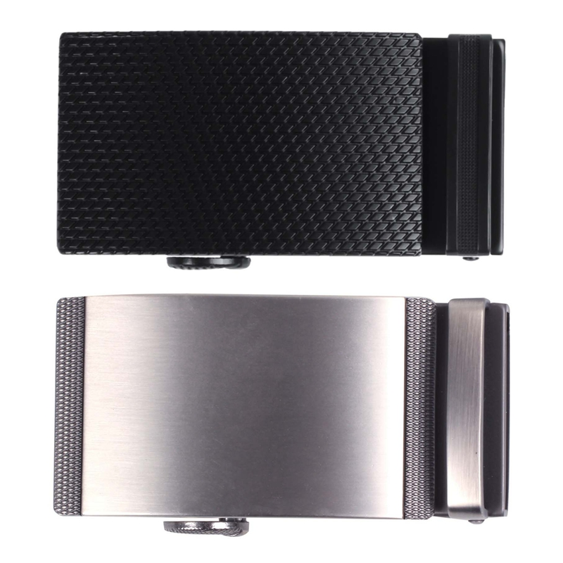 2Pcs Men's Solid Buckle Automatic Ratchet Leather Belt Buckle With 2 Bar Stripes-Silver With Twill-Black