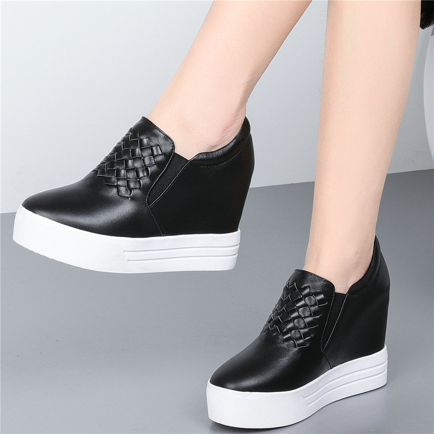 Casual Shoes Women Genuine Leather Platform Wedges High Heel Pumps Shoes Female Round Toe Sneakers Punk Trainers Tennis Shoes