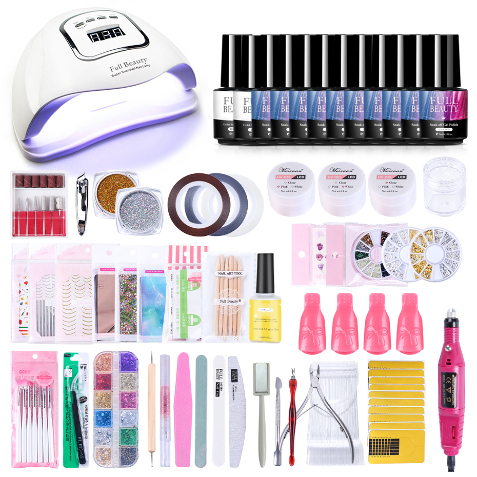 Professional Nail Set With UV Lamp 90W Acryl Gel Nail Form Kits Starry Flower Nail Foil Glue Set Gold Decors For Manicure LY1582