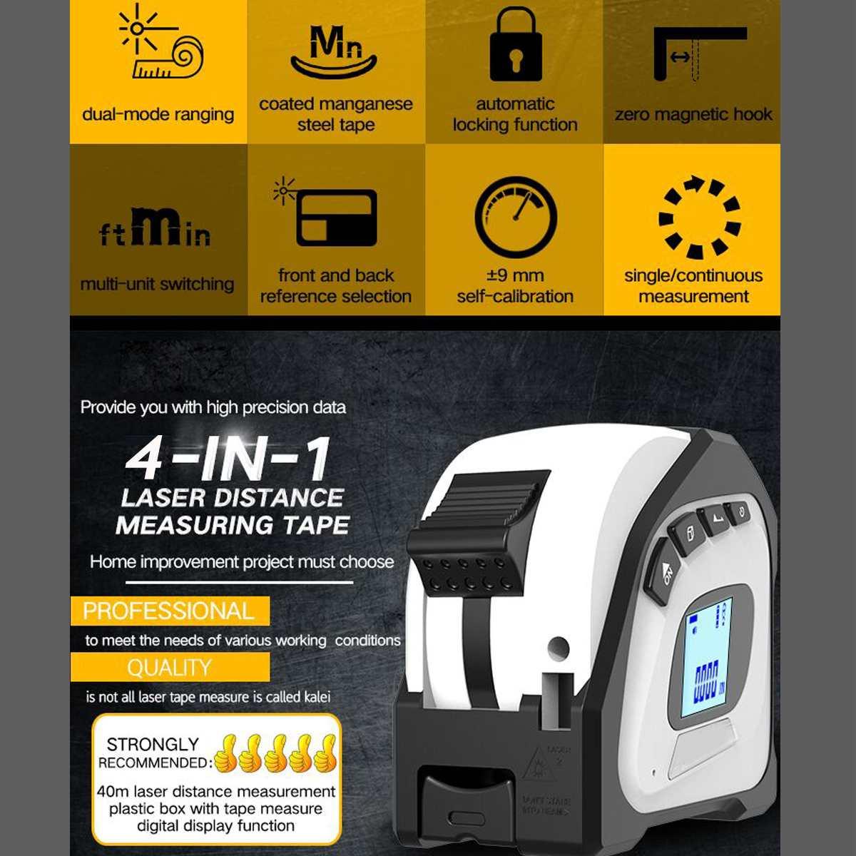 40M  4 In 1 Laser Rangefinder Digital 5M Tape Measure Distance Meter Portable Range Finder Infrared Construction Gauging Tool