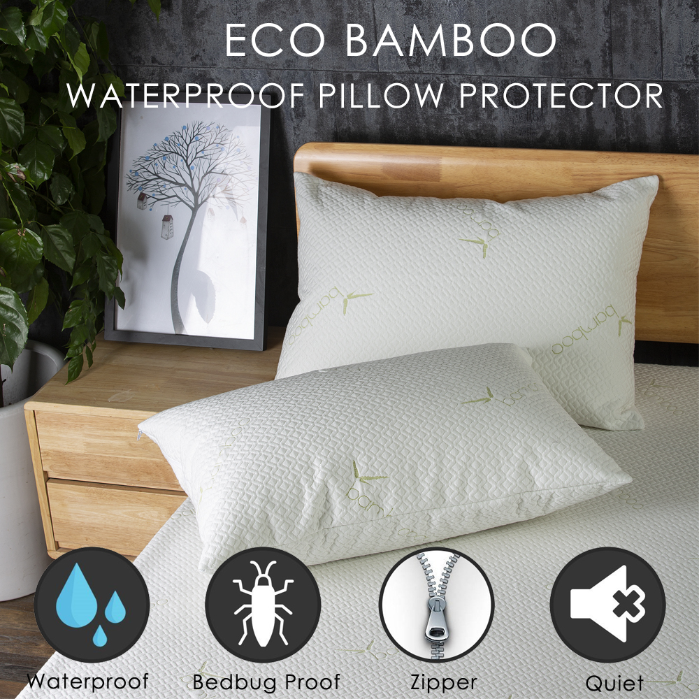LFH 50X70CM Bamboo Fiber Waterproof Pillow Cover Dust Mite Bed Bug Proof Zippered Pillow Protector For Pillow Cushion Sham Case