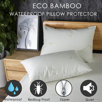 Lfh 50x70cm fibra de bambu à prova dmite água capa de travesseiro poeira ácaro cama bug à prova de zíper protetor de travesseiro para travesseiro almofada sham caso