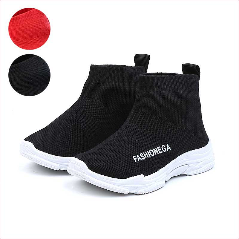 Shoes Kids Flying Sneakers Boys Kids Autumn 2019 Baby Children's Sock Runing Shoe Girls Casual Shoes Red Black #1