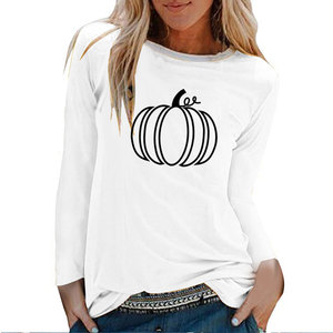 Pumpkin Printing Halloween Long Sleeve T-shirts Women Autumn Winter Graphic Tees Women Aesthetic White Crew Neck Harajuku Shirt