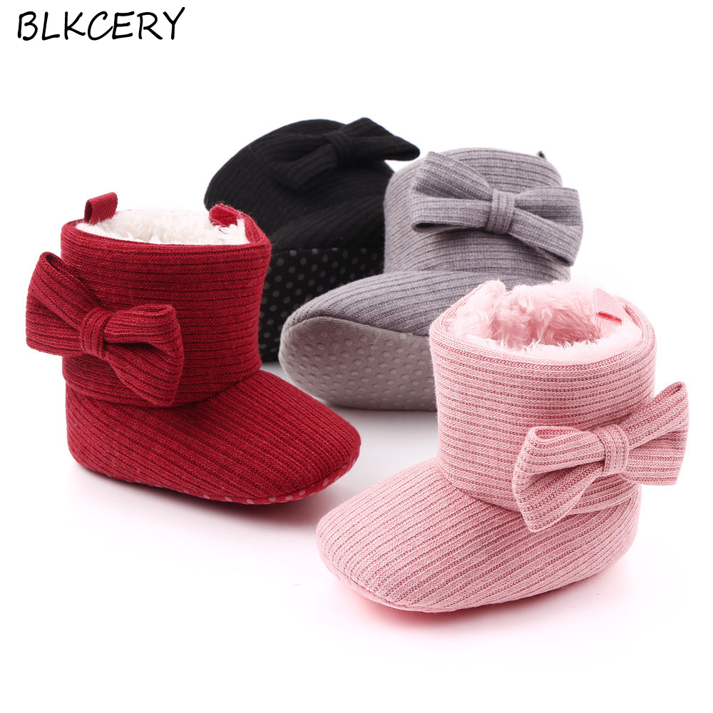 Brand Infant Booties Toddler Baby Girls Shoes Soft Sole Booty Winter Warm Snow Boots Bows Shoes Newborn Footwear For 1 Year Old