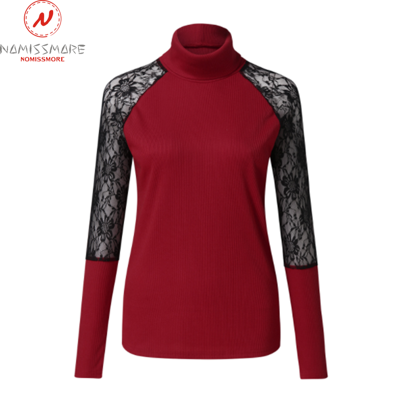 Elegant Women Spring Autumn T-Shirts Hollow Out Design Lace Decor Half High Collar Long Sleeve Slim Pullovers Top 5