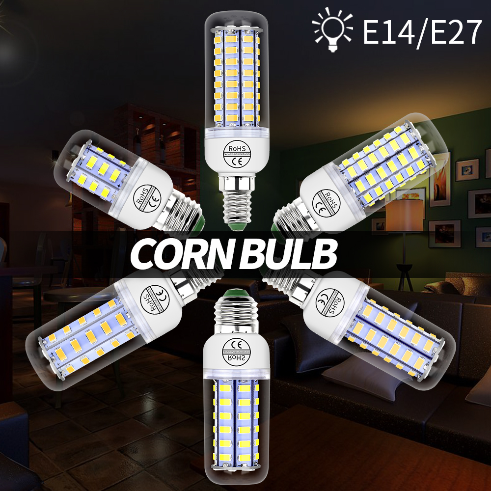 E14 LED Lamp Corn LED Bulb G9 220V E27 Light Bulb GU10 Bombillas 24 36 48 56 69 72leds B22 Candle Light Chandelier Lighting 5730