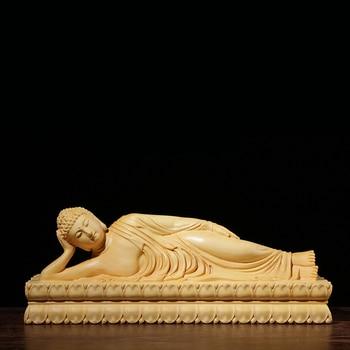 Boxwood Carving Buddha Statue Feng Shui Decoration Hall Worship Handicraft Reposing Lying Buddha Sculpture Home Decor
