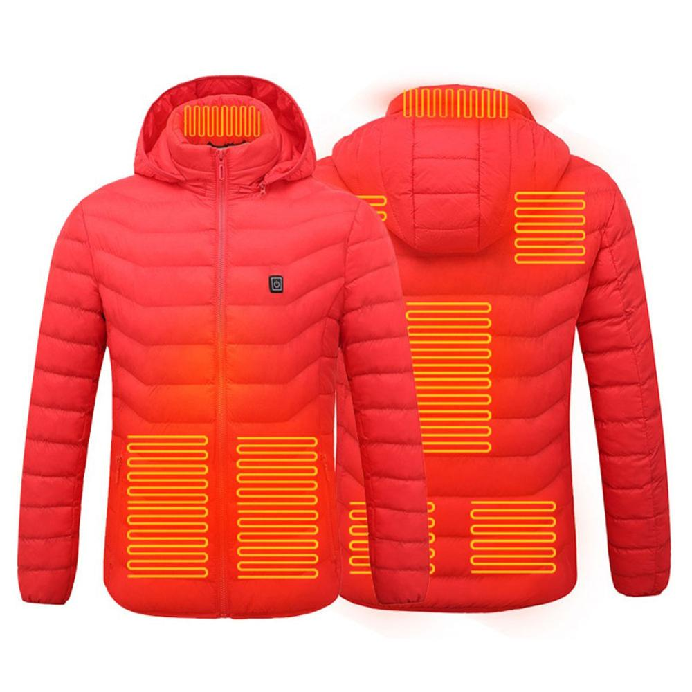 Heated Jackets Down Cotton Warm Winter Men Women Cothing USB Electric Heating Hooded Jacket Thermal Coat Fast Ship