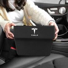ل تسلا نموذج 3 نموذج S X Y تسلا نموذج 3 اكسسوارات مقعد السيارة الفجوة صندوق تخزين مع شعار مانعة للتسرب المنظم حامل هاتف