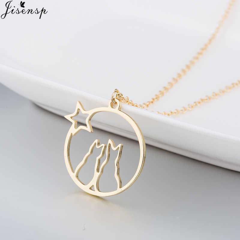 Jisensp romantyczny naszyjnik z wisiorkiem Hollow okrągły piękny kot długi łańcuch dla kobiet dziewczyn modna biżuteria na prezent bijoux