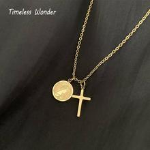 Timeless Wonder Trendy Titanium Portrait Coin Cross Choker Necklace Punk Statement Chain Ins Stainless Steel Jewelry 5599