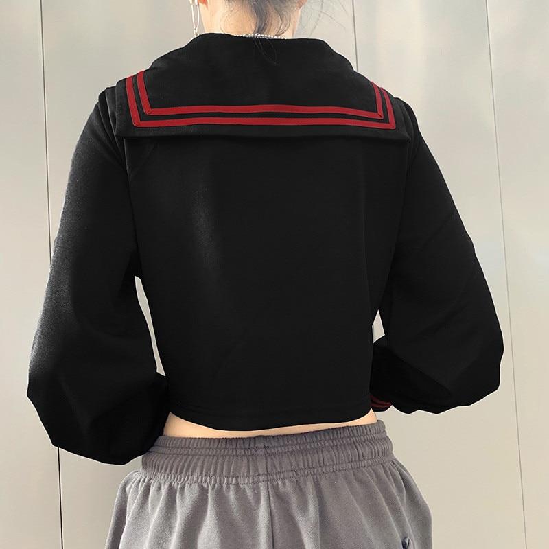 Focal20 Streetwear Sailor Collar Stripe Women Crop Jacket Casual Zipper Female Crop Coat Spring Autumn Lady Crop Jackets Tops 3