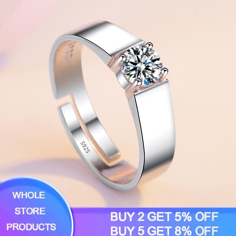 YANHUI Have Certificate Simple Men Rings Original 925 Silver Opening Adjustable Rings 6mm Cubic Zirconia Wedding Rings For Men