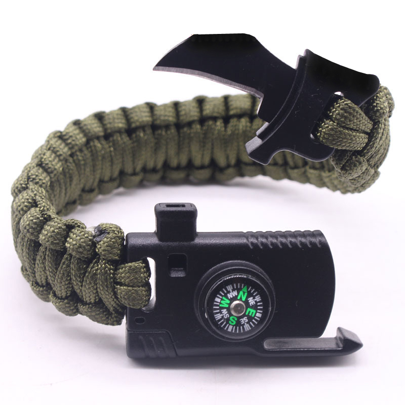 Outdoor Survival Bracelet Men Women Braided Paracord Multi-function Camping Rescue Emergency Rope Bangles Compass Whistle Knife(China)