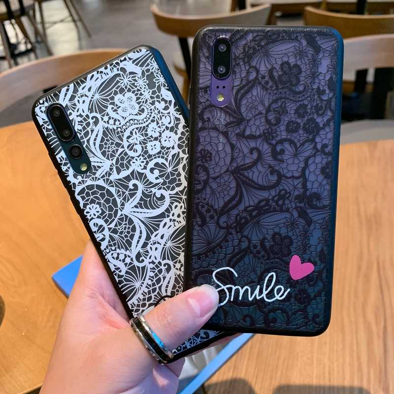Lace Flower Pattern Matte Soft Silicone Case Cover For Huawei P20 P30 Mate 10 20 Pro Lite 2019 Nova 4 3 3i 5 5i Back Cases Coque
