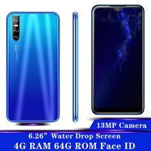 A21s 6.26 polegada 4g ram 64g rom gota de água grande tela quad core face id desbloqueado smartphones celulares celulares telefones android