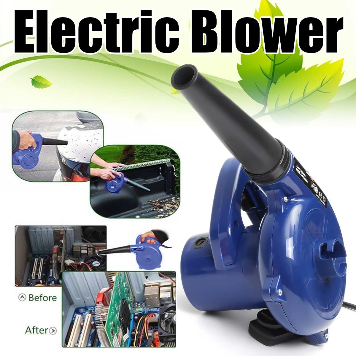 600W 220V Electric Handheld Blower Computer Dust Collector Fan Blowing Dust Vacuum Cleaner Family Garden Office Applicable