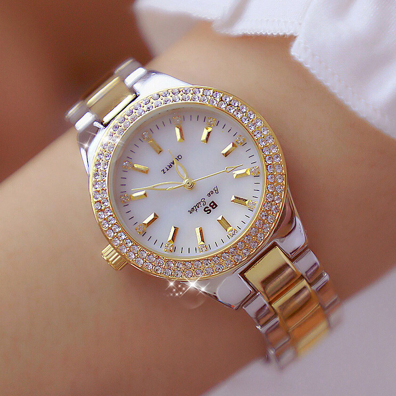 Ladies Wrist Watches Dress Gold Watch Women Crystal Diamond Watches Stainless Steel Silver Clock Women Montre Femme Reloj Mujer