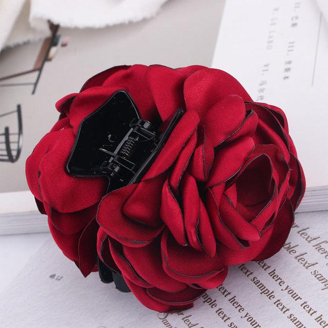 Fashion Womens Chiffon Rose Flower Bow Jaw Clip Barrette Hair Claw Gift Hot D/_CI