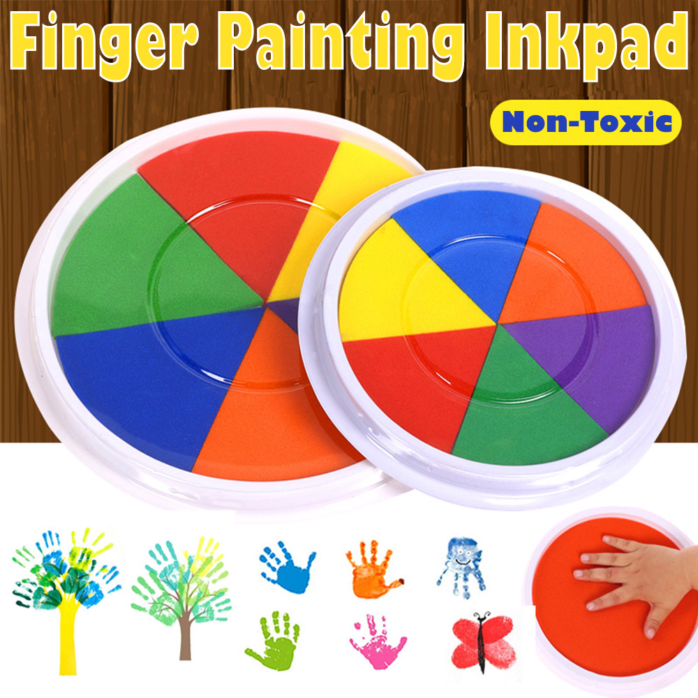 6 Colors Ink Pad Stamp Toy Kids Montessori DIY Finger Painting Craft Cardmaking For Drawing Baby Toys 0-1 Year Draw Paint Inkpad