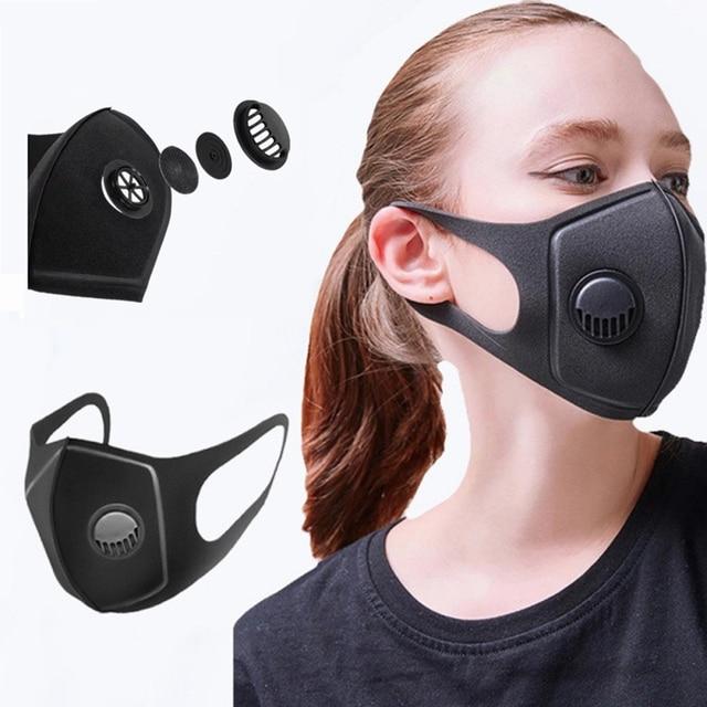 Men Women Anti Pollution Mask PM2.5 Sponge Mouth Respirator Black Breathable Valve Mask Filter Cycling Dustproof Face Shield 1