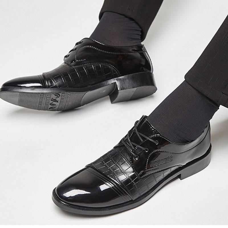 Point Toe Men Dress Shoes Luxury Brand Men's Business Wedding Formal Shoes Derby Flat Shoes Zapatos Classic Gentleman Shoes