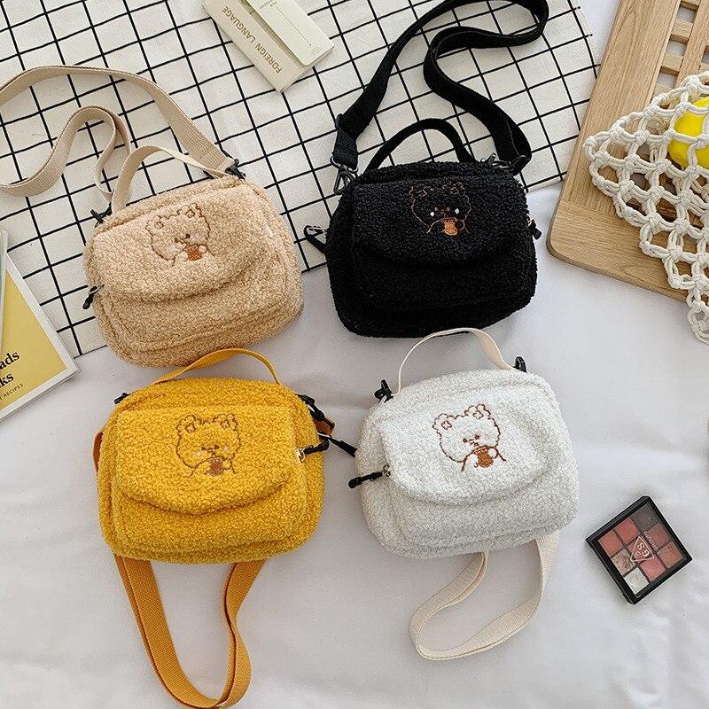Mini cute lamb plush shoulder bag female small canvas messenger bag ladies embroidery zipper cloth wallet mobile phone handbag