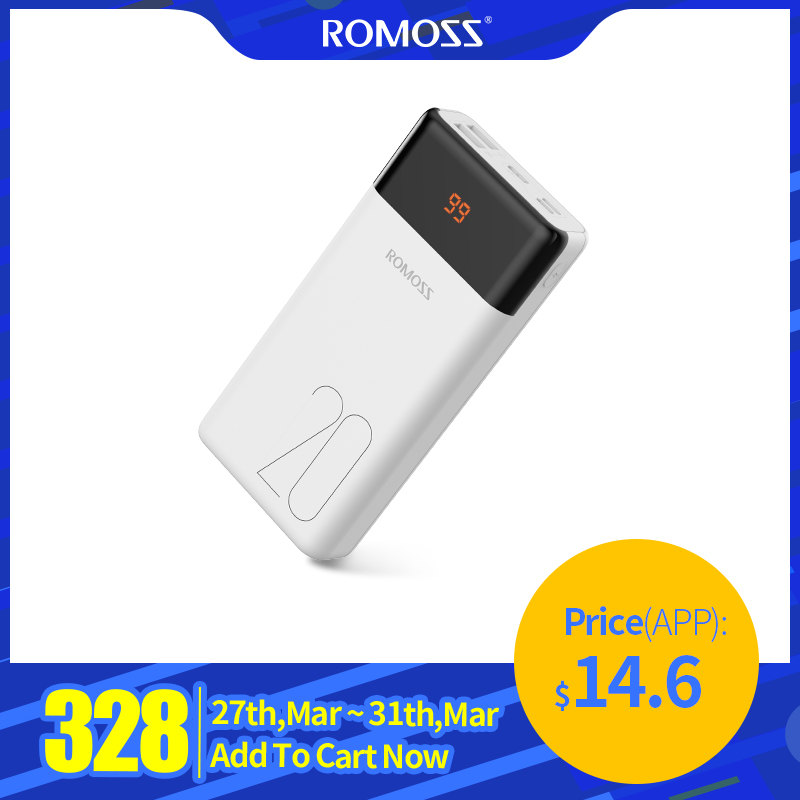 20000mAh ROMOSS LT20PS Power Bank Dual USB External Battery With LED Display Fast Portable Charger For Phones Tablet For Xiaomi