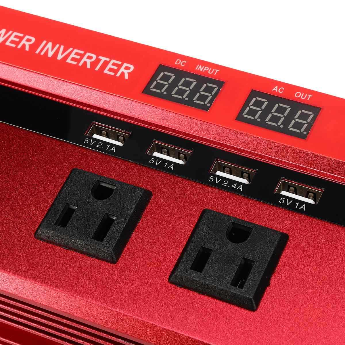 محول طاقة السيارة 2000 واط السيارات محول طاقة محول LED تيار مستمر 24 فولت إلى التيار المتناوب 110 فولت 4 منافذ USB 2 منافذ التيار المتناوب شاحن تعديل شرط موجة