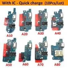 10 sztuk USB stacja dokująca do ładowania złącze płyty Flex kabel do Samsung A80 A70 A60 A50 A40 A30 A20 A10 A7 A9 2018 A750 A920 A11 A01 A21s