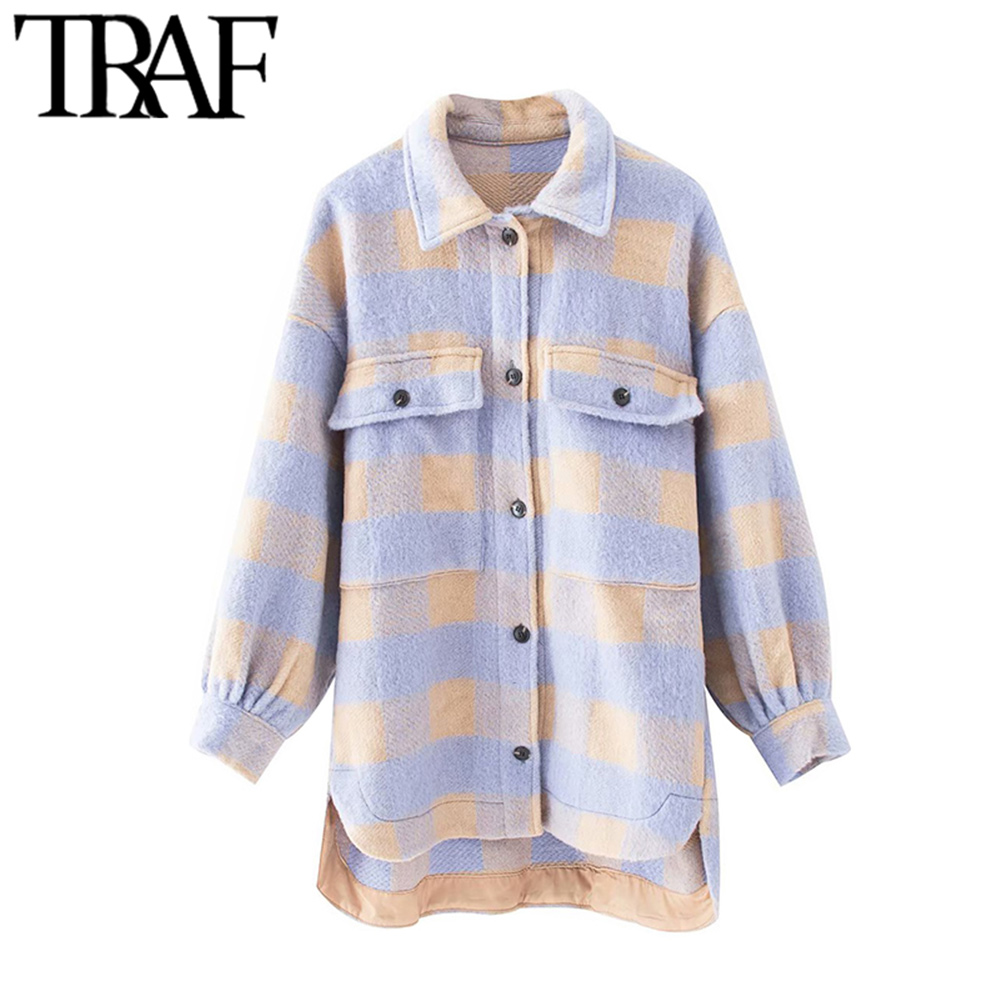 TRAF Women Fashion Overshirts Oversized Checked Wool Jacket Coat Vintage Pocket Asymmetric Female Outerwear Chic Tops