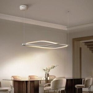 Image 3 - Modern LED kolye ışıkları yemek odası bar mağaza asılı kolye lamba oturma odası ofis ev deco 90 260V mat siyah/beyaz