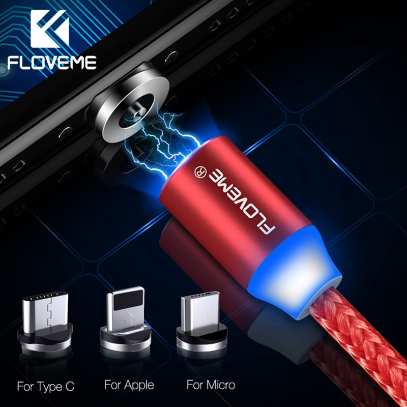FLOVEME Magnetic Micro USB Type C Cable For iPad iPhone 11 7 8 Samsung Xiaomi 1m 2.4A Braided LED USB Cable Magnet Charging Wire